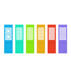 rectangle chinese door with pattern in flat vector image