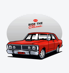 Red muscle car vector