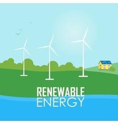 Renewable energy Wind generator turbines vector image vector image