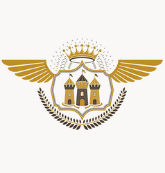 retro heraldic template created using eagle wings vector image