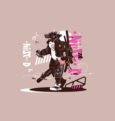 robot drone mercenary mechanized and automated vector image