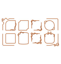 rope frames hemp thread square and round borders vector image