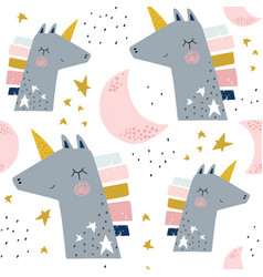 Seamless childish pattern with cute unicorns vector