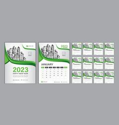 Set desk calendar 2023 template-2 vector