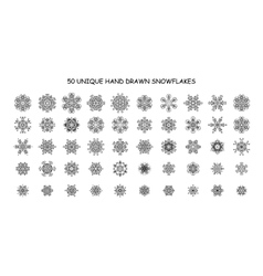 Set of 50 different hand-drawn snowflakes vector image