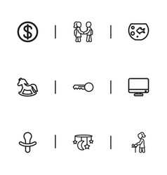 set of 9 editable folks outline icons includes vector image