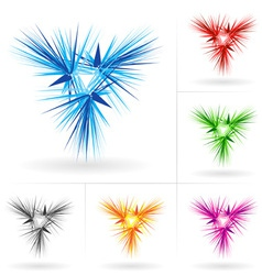 set of abstract stars icons vector image