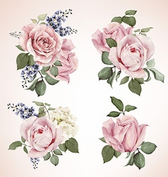 Set of bouquets of roses watercolor can be used vector