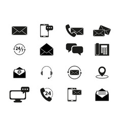 set of contacts black icons vector image