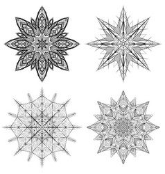 set of outline of snowflakes vector image