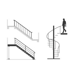 Set of steel stair with silhouette of man go down vector