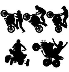 set silhouettes rider participates motocross vector image