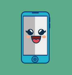 smartphone comic character icon vector image