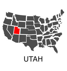 state utah on map usa vector image