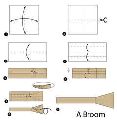 Step instructions how to make origami a broom vector