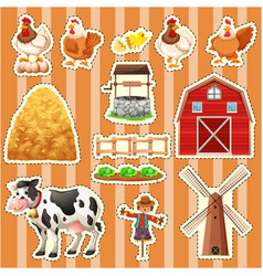 sticker design for farm animals vector image