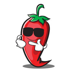 super cool red chili character cartoon vector image