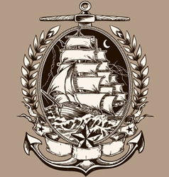 Tattoo Style Pirate Ship In Crest vector image