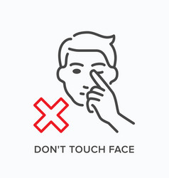 touching face line icon outline vector image