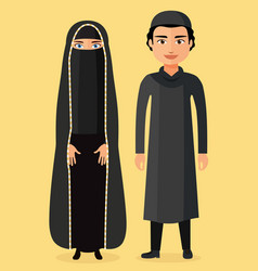 Traditional arab couple flat vector