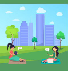 Two women sitting on lawn in central city park vector