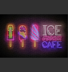 Vintage glow poster with ice cream lolly and vector