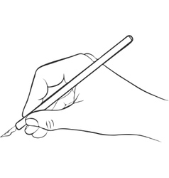 Writing hand with ink pen vector