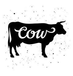 cow silhouette 005 vector image vector image