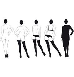 girl gradually dresses vector image vector image