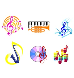 musical symbols emblems vector image