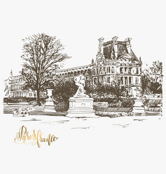 drawing of the louvre paris france with golden vector image