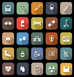 Hospital flat icons with long shadow vector