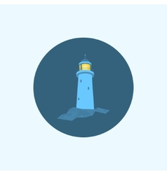 Icon with colored lighthouse vector image vector image