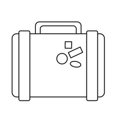 suitcase travel with stickers thin line vector image