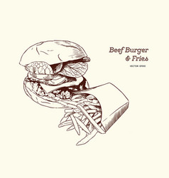 a burgerwith fries drawing vector image vector image