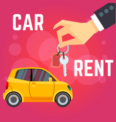 car rent flat-style yellow vector image vector image