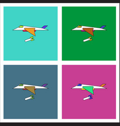 Flat icon design collection military jet fighter vector