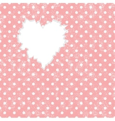 Hole in heart shape on polka dot background vector