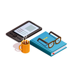 isometirc reading composition vector image vector image