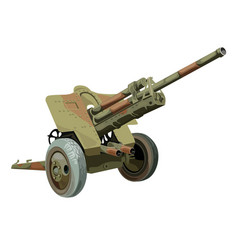 Old military gun on wheels vector image