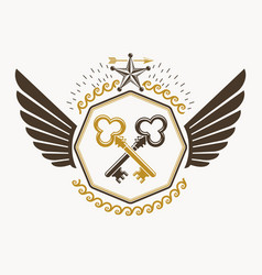 old style heraldic emblem made with keys and vector image vector image