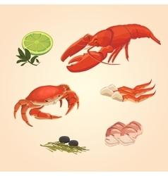 Set sea food crab and crawfish vector