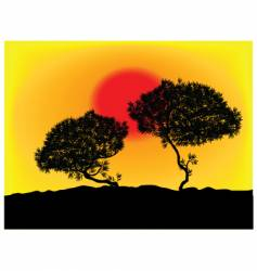 silhouette tree background vector image vector image