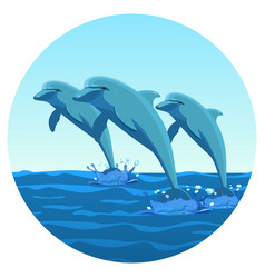 three dolphins synchronously jump out of water vector image vector image