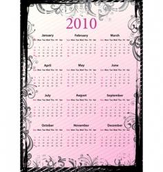 American floral grungy calendar 2010 vector image