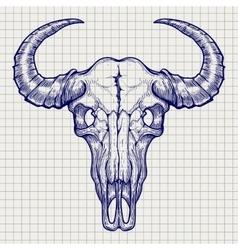Ball pen buffalo skull sketch vector image vector image