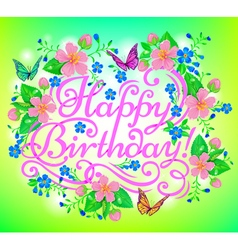 Birthday flowers greeting vector image vector image