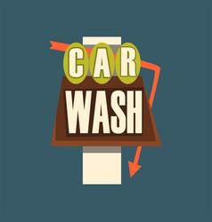 car wash retro street signboard vintage banner vector image vector image