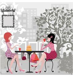 Floral Girls Cafe vector image