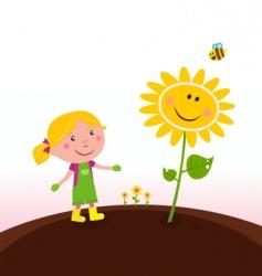 gardener child with sunflower vector image